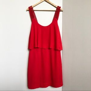 Anthropologie Maeve Coral Red Midi Dress